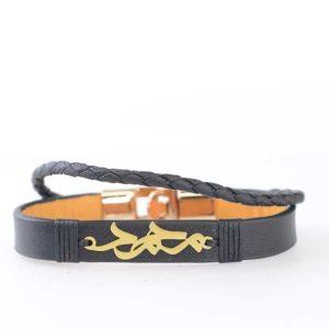دستبند چرم و نقره