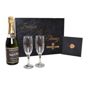 پکیج شامپاین و جام و کارت(سایز بزرگ)