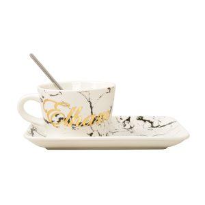 فنجون و کیک خوری سفید ماربل